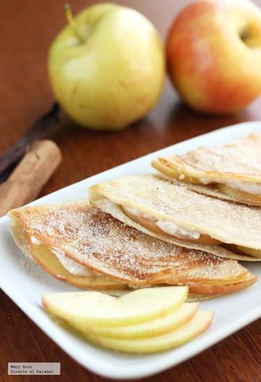 Quesadillas dulces de manzana y queso crema. Receta
