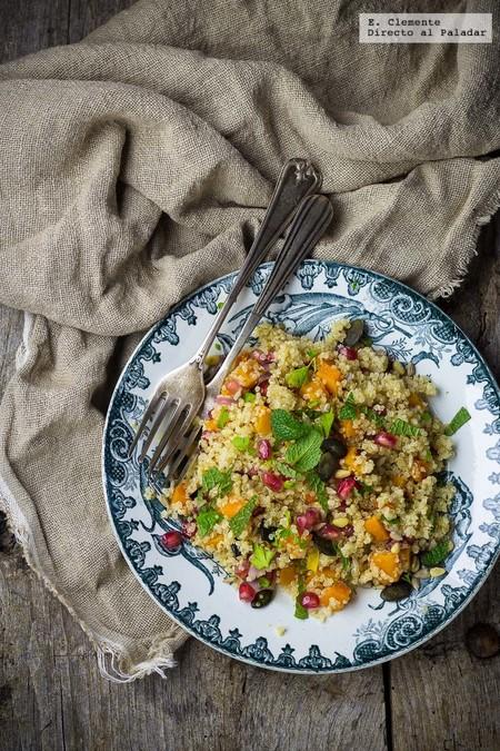 ensalada de quinoa, calabaza asada y granada