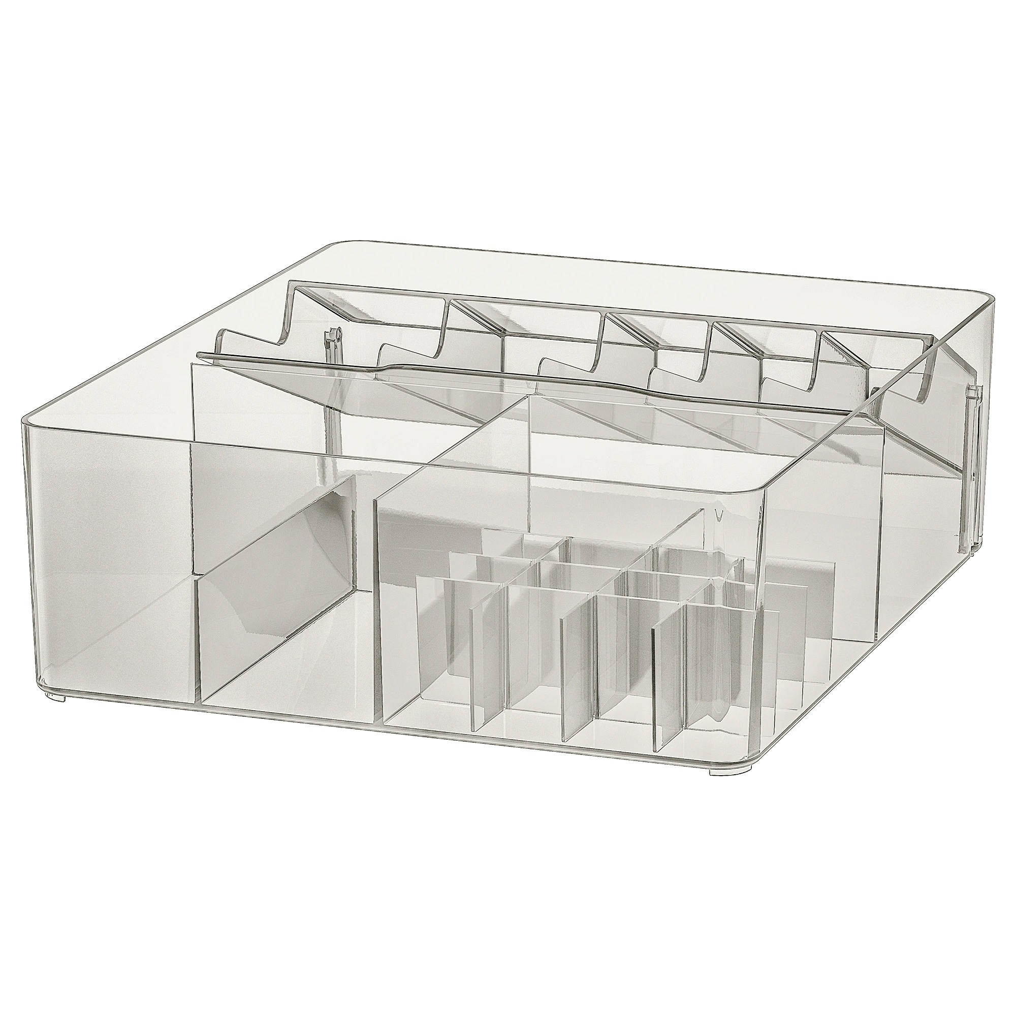 GODMORGON Caja con compartimentos, ahumado 32x28x10 cm