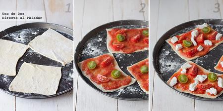 Mini pizzas Caprese. Receta paso a paso