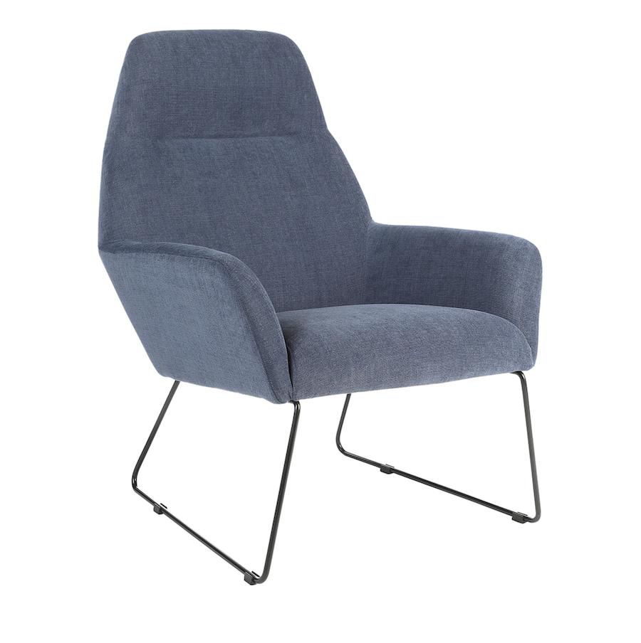 Butaca alta tapizada con patas metálicas en azul Andy Room - El Corte Inglés