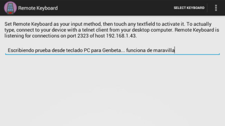 Prueba de Remote KeyBoard en el dispositivo Android