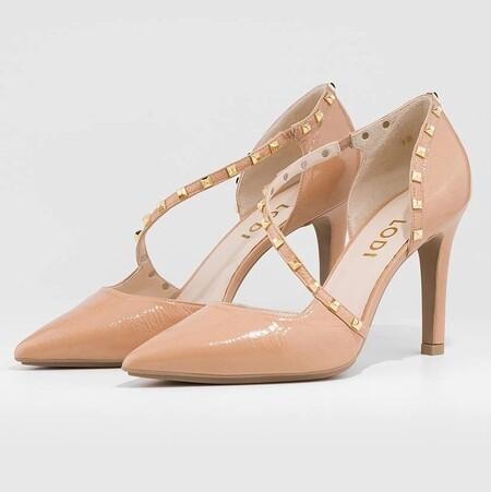 Zapatos de salón de mujer Lodi en charol de color rosa con tachuelas decorativas
