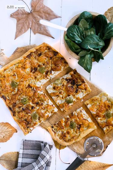 Pizza de roquefort y mozzarella. Receta fácil