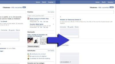 Simplifica la apariencia de Facebook quitando la columna de la derecha