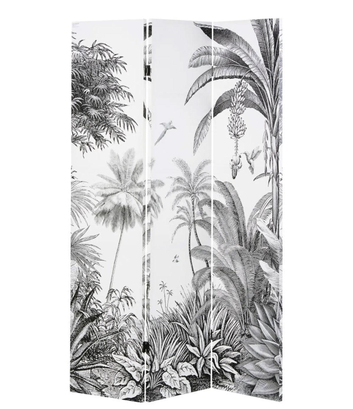 PARADISE- Biombo con impresión de bosque tropical en blanco y negro