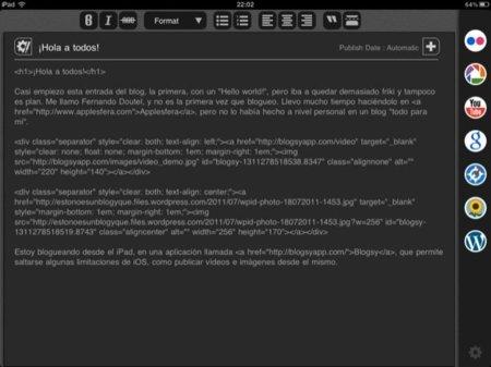 ventana de edición de Blogsy