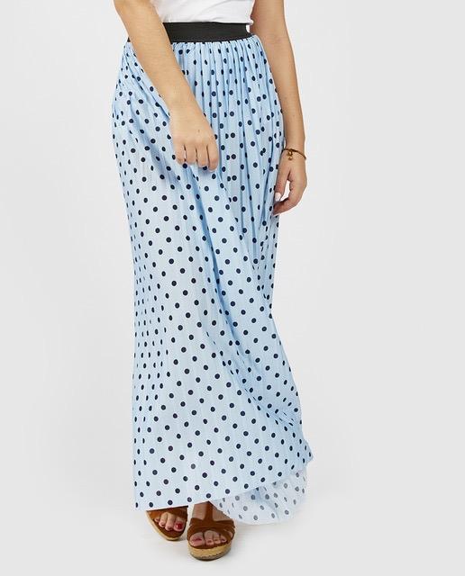 Falda larga plisada de topos