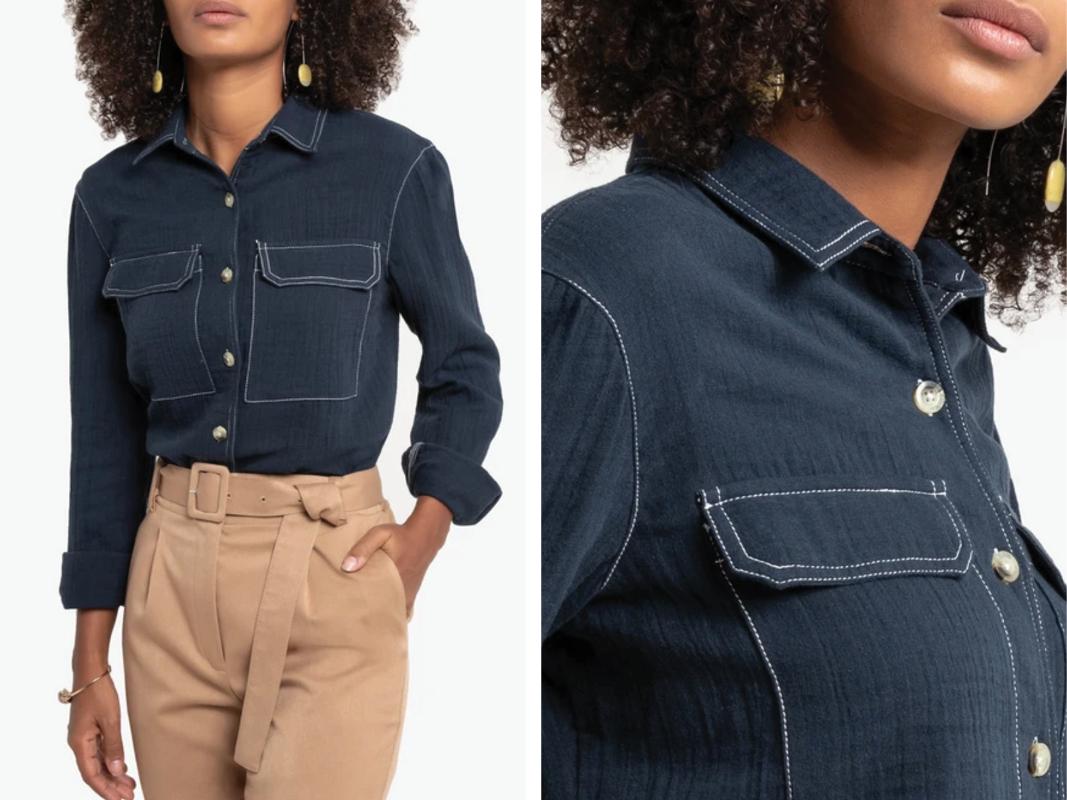 Camisa 100% algodón, manga larga