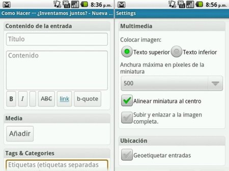 Opciones de WordPress para Android