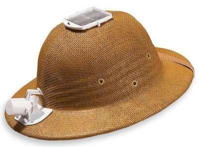 Sombrero con ventilador que se alimenta con energía solar