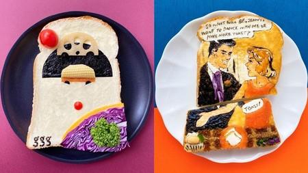 Obras de arte con comida. Una artista japonesa pinta en pan tostado