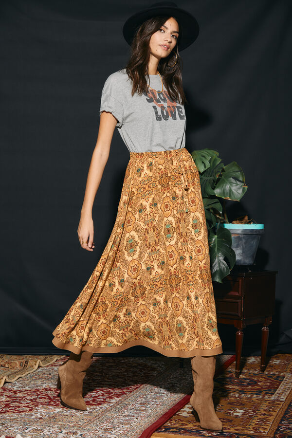 Falda capa larga estampada