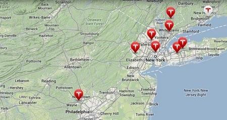 Mapa de tiendas de Tesla en Nueva Jersey