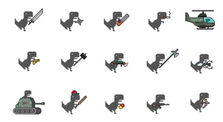 Dino Swords Adds 26 Different Weapons To Your Browser S Chrome Dino Game Product Hunt