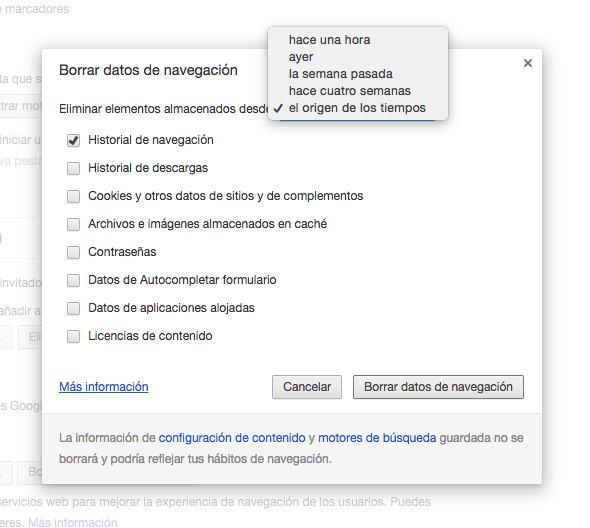 Chrome Borrar