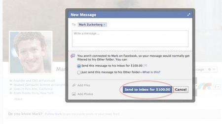 Ahora podrás enviarle un mensaje a Mark Zuckerberg a través de Facebook por 100 dólares