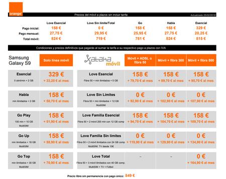 Precios Samsung Galaxy S9 A Plazos Con Tarifas Orange