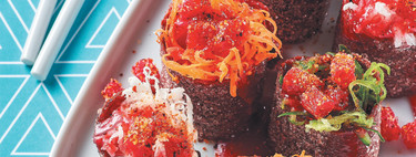 Botana. Sushi de tamarindo con chamoy