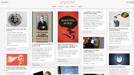 Pinpockit, un cliente web de Pocket al estilo Pinterest con interesantes opciones de filtrado
