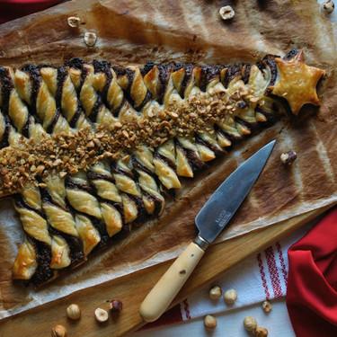 Receta de árbol de Navidad de hojaldre y Nutella