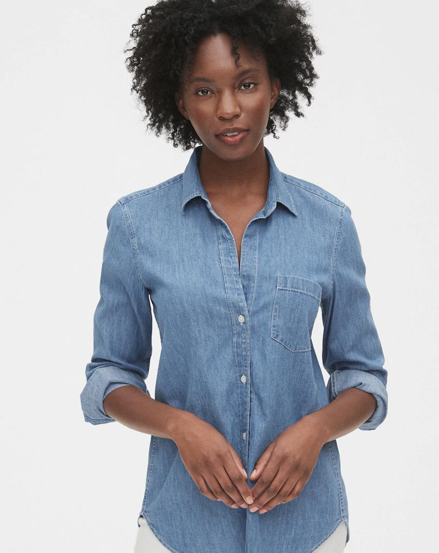 Camisa vaquera de mujer con manga larga