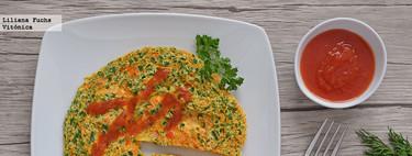 Tortilla rápida de hierbas frescas en microondas. Receta saludable