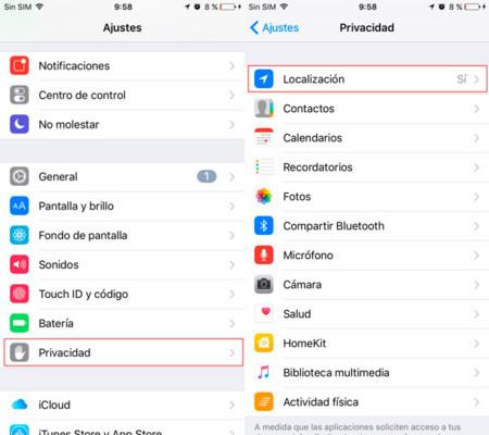Localizacion Desactivar iPhone