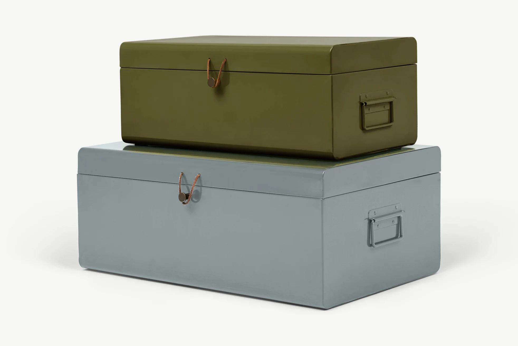 Daven, juego de 2 baúles de almacenaje de metal verde y gris