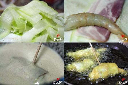 Cómo hacer un pincho de langostinos, calabacín y bacón en tempura