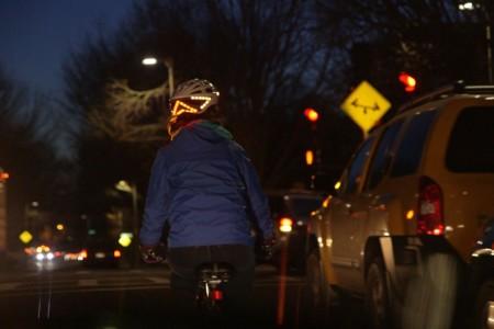 Lumos Bike Helmet Turn Signal In Use