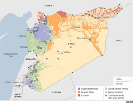Mapa de Siria en julio de 2015