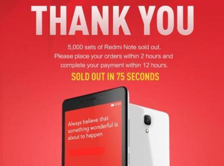 Xiaomi bate récords con su phablet Redmi Note: ha vendido 5.000 móviles en 75 s