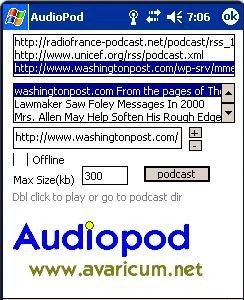 Audiopod, reproductor de podcasts para Windows Mobile