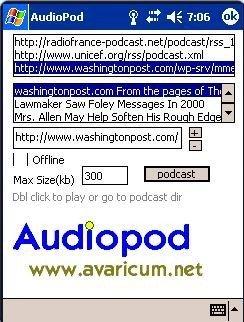 Audiopod, reproductor de podcasts para Windows Mobile