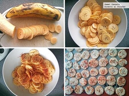 Chips crujientes de plátano con limón y chile. Receta fácil