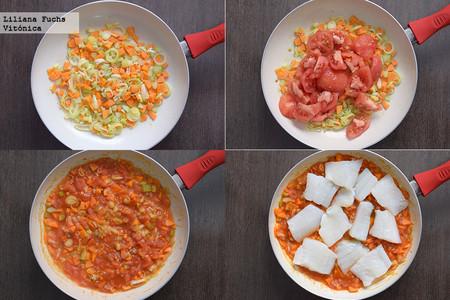 Bacalao en salsa de tomate, puerro y zanahoria. Receta saludable. Pasos