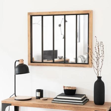 Espejo De Color Negro Y Natural 80 X 65