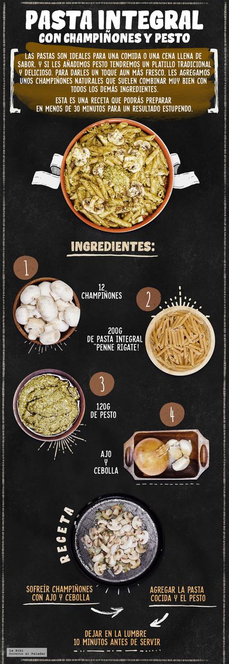 Pasta Champinones Pesto Receta Infografia