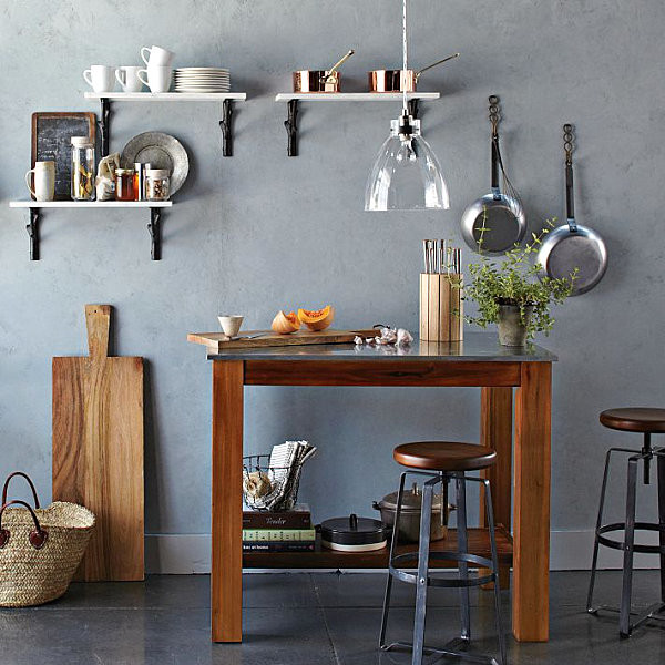 Wonderful Small Kitchen Design With Wooden Cutting Board Decoration Timber Table Wall Shelves Clear Glass Covered Pendant Lamp
