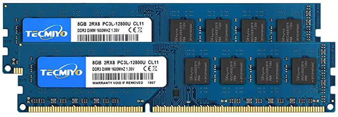 TECMIYO 16GB Kit (2x8GB) DDR3 RAM PC3-12800U 1600MHZ PC3L-12800 DDR3L 1600 UDIMM CL11 1.35V/1.5V 240Pin Non-ECC Unbuffered 2RX8 Dual Rank Desktop Memory Ram Module