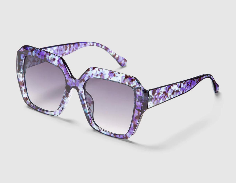 Gafas de sol de mujer El Corte Inglés geométricas en morado havana