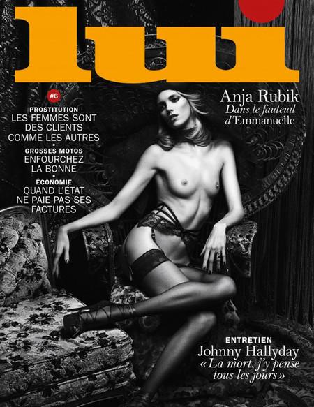 Anja Rubik topless Lui portada