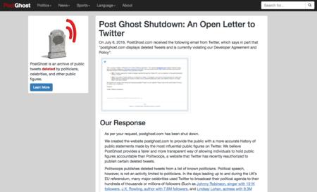 Adiós a PostGhost: Twitter cierra otra web que nos dejaba ver tuits borrados por usuarios verificados