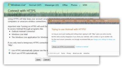 Ya es posible usar seguridad SSL para toda la sesión en Hotmail