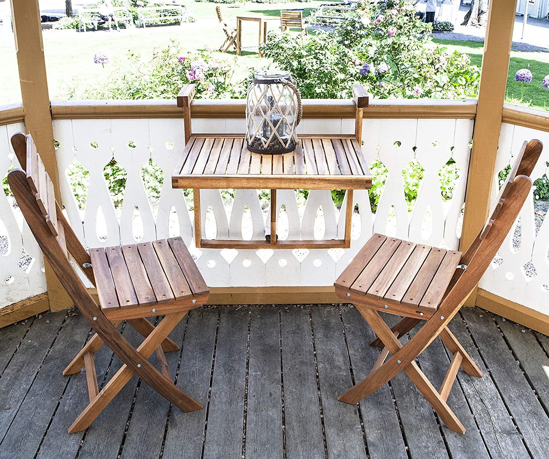 INTERBUILD Stockholm tamaño de Escritorio: 60X45CM Mesa de terraza Plegable para balcón Ajustable FSC Madera de Acacia Color Dorado Teca