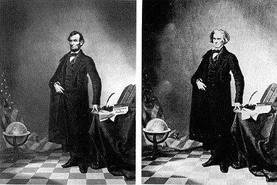 La cabeza de Abraham Lincoln en el cuerpo del político sureño John Calhoun