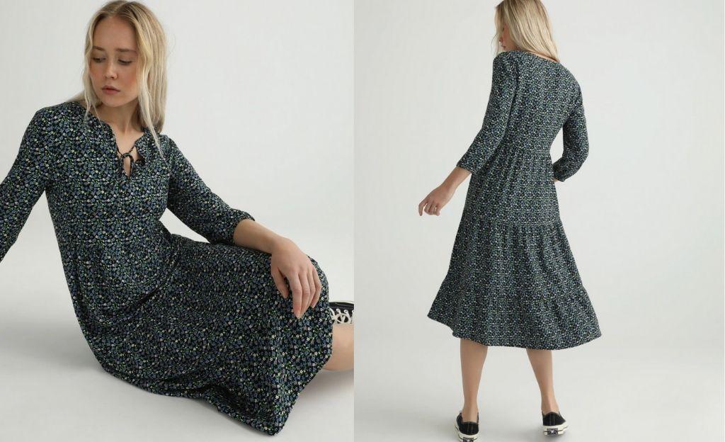 Vestido largo de mujer con manga larga.