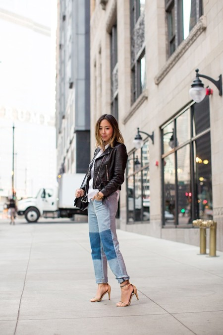 Aimee Song Short Hair Leather Jacket Boyfriend Jeans