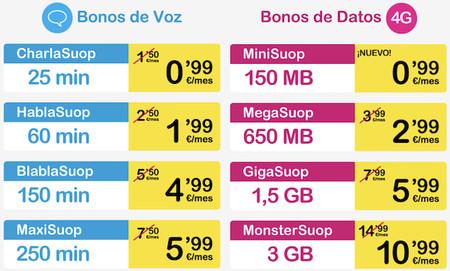 Nuevos bonos de voz y datos de Suop
